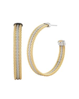 Alor Two-Tone Cable Hoop Earrings
