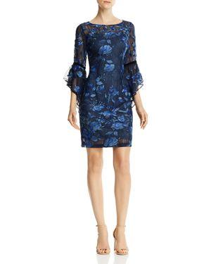Aidan Mattox Bell-Sleeve Lace Dress