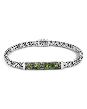 Sterling Silver Classic Chain Extra Small Bracelet With Green Tourmaline, Chrome Diopside & Peridot