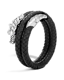 JOHN HARDY - terling Silver Legends Naga Double Coil Bracelet with Braided Black Leather & Sapphire Eyes