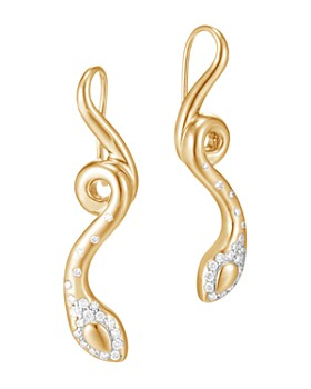JOHN HARDY - 18K Yellow Gold Legends Cobra Diamond Pavé French Wire Earrings - 100% Exclusive