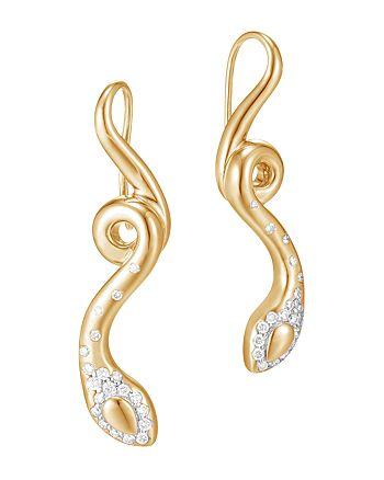 JOHN HARDY - 18K Yellow Gold Legends Cobra Diamond Pavé French Wire Earrings - 100% Exclusive