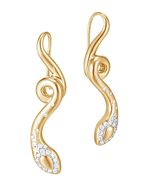 John Hardy 18K Yellow Gold Legends Cobra Diamond Pave French Wire Earrings - 100% Exclusive
