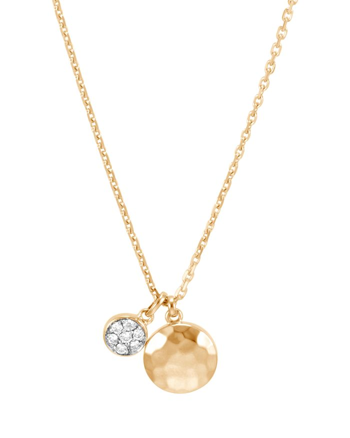 JOHN HARDY - 18K Yellow Gold Dot Hammered Pavé Diamond Drop Necklace, 16""