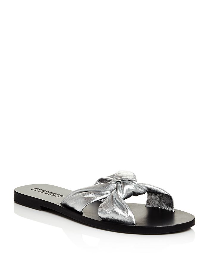 Sol Sana - Women's Paradise Metallic Leather Slide Sandals