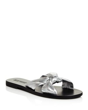 SOL SANA WOMEN'S PARADISE METALLIC LEATHER SLIDE SANDALS