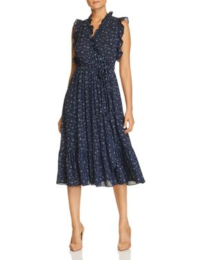 Out West Wild Roses Ruffle Wrap Dress, Adriatic Blue