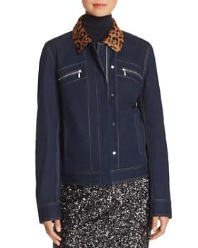 Lafayette 148 New York - Kesha Leopard-Collar Denim Jacket