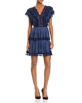 Alice and Olivia - Lanora Pleated Tiered V-Back Dress