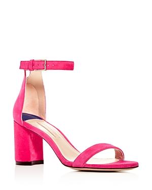 Stuart Weitzman Women's Suede Block High-Heel Sandals