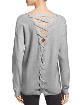 AQUA - Lace-Up Back Cashmere Sweater - 100% Exclusive