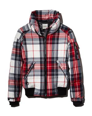 SAM Plaid Freestyle Down Bomber Jacket in Alpine