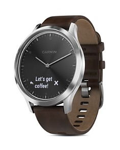 Garmin - vivomove HR Premium Hybrid  Brown Leather Strap Smartwatch, 43mm