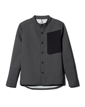 DYNE Windowpane-Print Regular Fit Shirt in Onyx