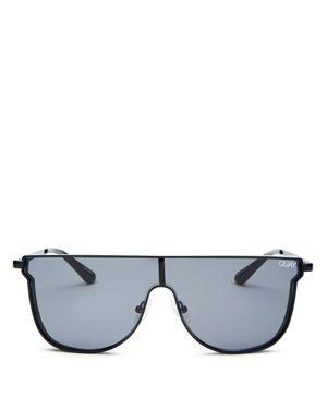 Women'S Can You Not Flat Top Shield Sunglasses, 143Mm, Black/ Smoke