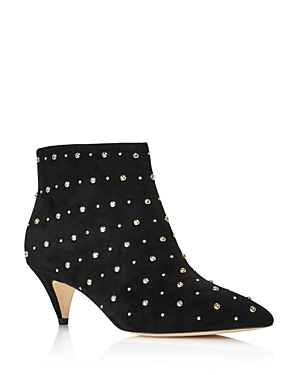 kate spade new york Women's Starr Pointed Toe Two-Tone Studded Suede Kitten Heel Booties