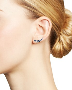 Bloomingdale's - Diamond and Blue Sapphire Climber Earrings in 14K White Gold - 100% Exclusive