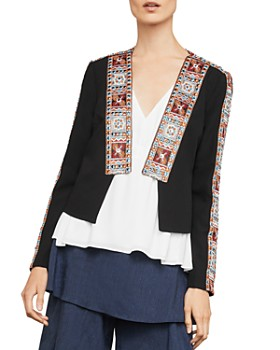 BCBGMAXAZRIA -  Embroidered Open-Front Jacket