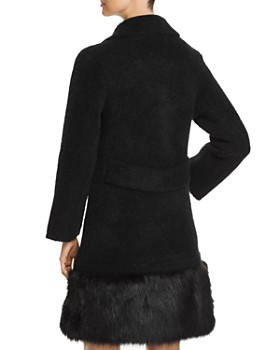 Emporio Armani - Double-Breasted Faux-Fur Trimmed Coat