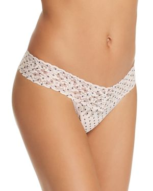 Pixie Dot Low-Rise Lace Thong in Vanilla/ Black