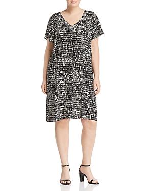 New Eileen Fisher Plus Printed Silk Drawstring Dress, Peble