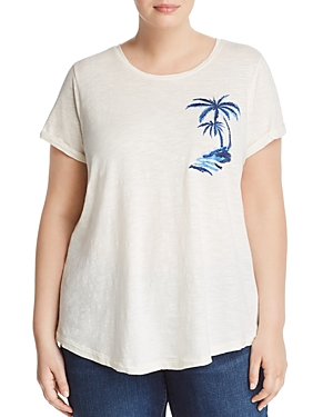 Lucky Brand Plus Embroidered Palm Tree Tee