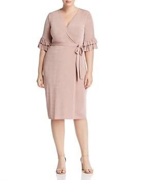 Lost Ink Plus - Faux-Wrap Ruffle-Sleeve Dress