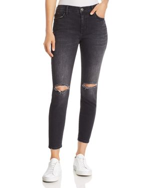 Current/Elliott The Stiletto Distressed Cropped Skinny Jeans In 2 Year Destroy Stretch Black