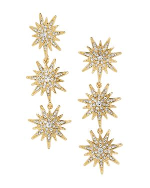 Horizon Triple Starburst Drop Earrings, Gold
