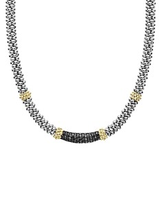 LAGOS - 18K Yellow Gold & Sterling Silver Diamond Lux Black Diamond Necklace, 16""