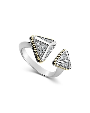Lagos 18K Yellow Gold & Sterling Silver Ksl Luxe Diamond Asymmetrical Pyramid Cuff Ring-Jewelry & Accessories