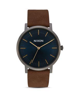 NIXON PORTER BROWN STRAP WATCH, 40MM