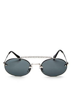 Miu Miu - Women's Crystal Brow Bar Round Sunglasses, 54mm