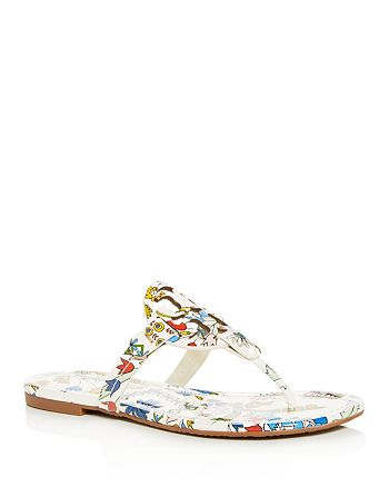 393e2666cc32 Tory Burch Women s Miller Floral Patent Leather Thong Sandals ...