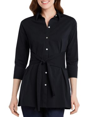 FOXCROFT MICHAELA BUTTON-DOWN TIE-FRONT TUNIC TOP