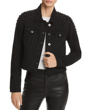 PISTOLA BRANDO BEADED CROPPED DENIM JACKET - 100% EXCLUSIVE