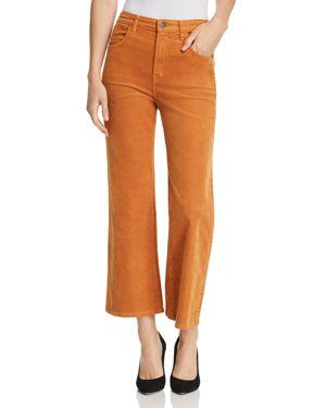Joan High Rise Crop Wide Leg Corduroy Jeans In Titian