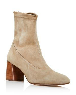 CREATURES OF COMFORT Creatures Of Comfort Women'S Dalia Square Toe Suede Mid-Heel Booties in Cement