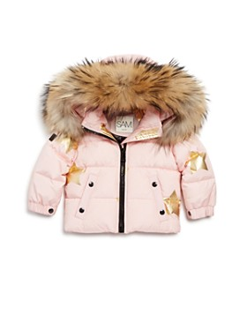 6ae4fb42337 Girls' Star-Print Fur-Trimmed Down Jacket - Baby ...