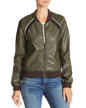 PAOLA FAUX-LEATHER BOMBER JACKET