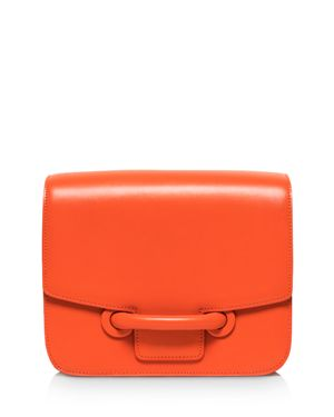 VASIC City Medium Leather Shoulder Bag in Tangerine Orange