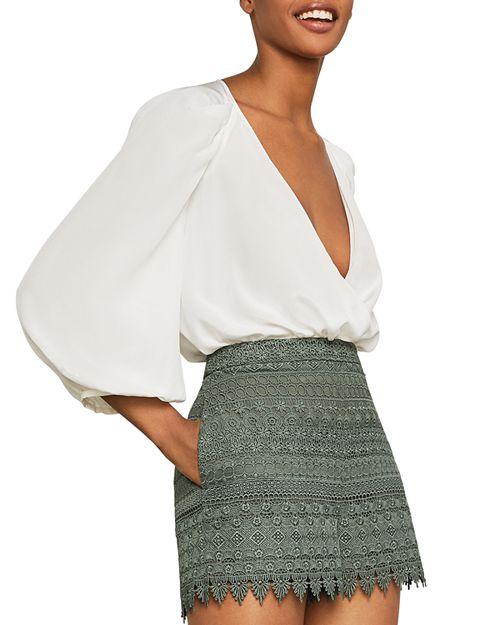 BCBGMAXAZRIA - Pleated-Sleeve Crossover Bodysuit