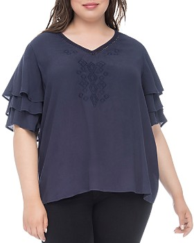 cd5ef1baf7360 B Collection by Bobeau Curvy - Clare Tiered-Sleeve Top ...