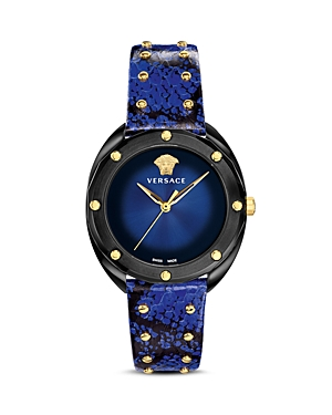 Versace Collection Shadov Blue Snakeskin Watch, 38mm