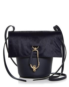 Zac Posen Belay Medium Leather Calf Hair Crossbody Bucket Bag