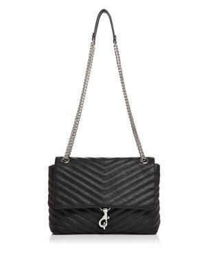 Edie Flap Front Leather Shoulder Bag - Black