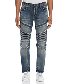 True Religion - Rocco Slim Fit Moto Jeans in Combat Blue