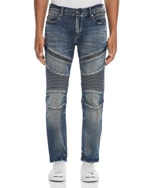 TRUE RELIGION Rocco Slim Fit Moto Jeans In Combat Blue
