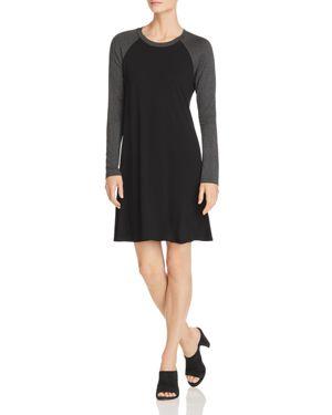 Robert Michaels Color Block Dress in Black/Dark Heather Gray