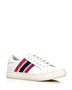 MARC JACOBS - Women's Empire Strass Round Toe Leather Low Top Sneakers